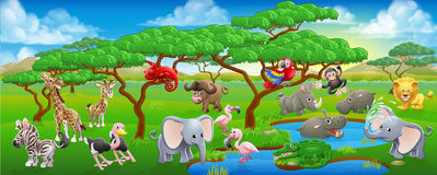Gullig tecknad film Safari Animal Scene Landscape stock illustrationer
