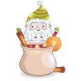 Gullig tecknad film Santa Claus med funderat vin Arkivfoton