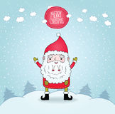 Gullig tecknad film Santa Claus och vinternatur Royaltyfria Foton