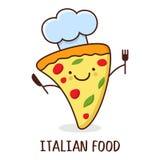 Gullig tecknad film som ler stycket av pizza också vektor för coreldrawillustration Concep Royaltyfria Bilder