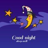 Gullig tecknad film som sover månen och stjärnor Royaltyfri Bild