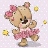 Gullig tecknad film Teddy Bear Ballerina vektor illustrationer