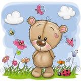 Gullig tecknad film Teddy Bear på en äng royaltyfri illustrationer
