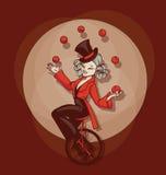 Gullig tecknad filmaquilibrist för utvikningsbrud som jonglerar bollar Arkivfoto