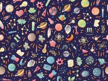 Gullig tecknad filmbaksida till den roliga sömlösa modellen för skola och för högskola med kulöra skolatillförsel Vetenskapsprovr vektor illustrationer
