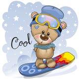 Gullig tecknad filmbjörn på en snowboard vektor illustrationer