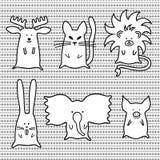 Gullig tecknad filmdjuruppsättning Stock Illustrationer