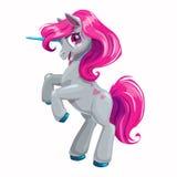 Gullig tecknad filmenhörning med rosa hår stock illustrationer