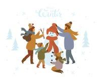 Gullig tecknad filmfamilj som gör en snögubbe det fria, vinter isolerad vektorillustration royaltyfri illustrationer