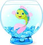 Gullig tecknad filmfisk i akvarium Royaltyfria Bilder