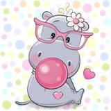 Gullig tecknad filmflodhäst med bubbelgum vektor illustrationer