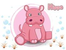 Gullig tecknad filmflodhäst på en färgbakgrund Fotografering för Bildbyråer