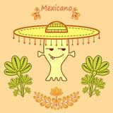 Gullig tecknad filmfrämling i mexikansk stil med en stor mariachihatt vektor illustrationer