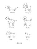 Gullig tecknad filmhundkapplöpning av olika avel stock illustrationer