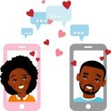 Gullig tecknad filmillustration av afrikansk amerikanfolk som är förälskat i en mobiltelefon royaltyfri bild