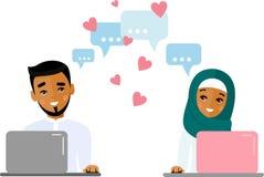 Gullig tecknad filmillustration av datoren och internet för arabiskt folk den förälskade användande arkivbild