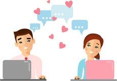 Gullig tecknad filmillustration av datoren och internet för folk den förälskade användande arkivfoto
