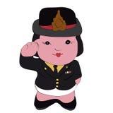 Gullig tecknad filmillustration av en kvinnlig polis Arkivbilder