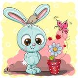 Gullig tecknad filmkanin med blomman stock illustrationer