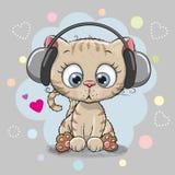 Gullig tecknad filmkattunge med hörlurar vektor illustrationer