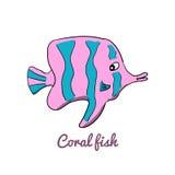 Gullig tecknad filmkorallfisk Stock Illustrationer