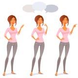 Gullig tecknad filmkvinna i jeans royaltyfri illustrationer