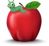 Gullig tecknad filmlarv på det röda äpplet Arkivfoton