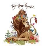 Gullig tecknad filmlejonkonung royaltyfri illustrationer