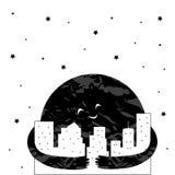 Gullig tecknad filmmåne i nattstaden också vektor för coreldrawillustration stock illustrationer
