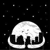 Gullig tecknad filmmåne i nattstaden också vektor för coreldrawillustration vektor illustrationer