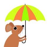 Gullig tecknad filmmus som rymmer ett paraply Royaltyfri Foto