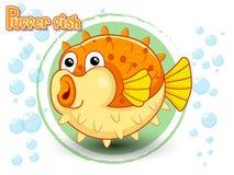 Gullig tecknad filmPufferfisk på en färgbakgrund Royaltyfria Foton
