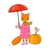 Gullig tecknad filmräv under ett paraply och en liten fågel på en pumpa Royaltyfri Foto