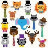 Gullig tecknad filmsamling av väl klädda djur stock illustrationer