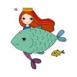 Gullig tecknad filmsjöjungfru och fisk siren abstrakt tema för abstraktionbakgrundshav Isolerade objekt på vit bakgrund Royaltyfri Fotografi