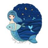 Gullig tecknad filmsjöjungfru och fisk siren abstrakt tema för abstraktionbakgrundshav Isolerade objekt på vit bakgrund Arkivfoto