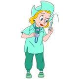 Gullig tecknad filmsjuksköterska Fotografering för Bildbyråer