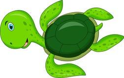 Gullig tecknad filmsköldpadda stock illustrationer
