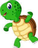 Gullig tecknad filmsköldpadda Arkivbilder