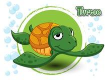 Gullig tecknad filmsköldpadda på en färgbakgrund Royaltyfria Bilder