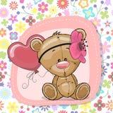 Gullig tecknad filmTeddy Bear flicka med ballongen Arkivfoton