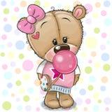 Gullig tecknad filmTeddy Bear flicka med bubbelgum vektor illustrationer