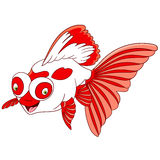 Gullig tecknad filmteleskopguldfisk Royaltyfria Foton