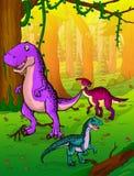 Gullig tecknad filmtyrannosarie, parasaurolophus och velociraptor på bakgrunden av naturen Royaltyfria Foton