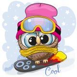 Gullig tecknad filmuggla på en snowboard royaltyfri illustrationer