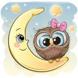 Gullig tecknad filmugglaflicka på månen royaltyfri illustrationer