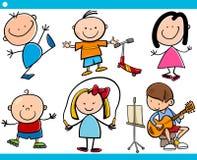 Gullig tecknad filmuppsättning för små barn vektor illustrationer