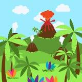 Gullig tecknad filmvektorbakgrund av öknen, djungeln eller det forntida landskapet stock illustrationer