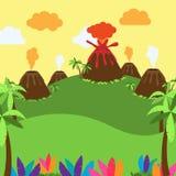 Gullig tecknad filmvektorbakgrund av öknen, djungeln eller det forntida landskapet royaltyfri illustrationer
