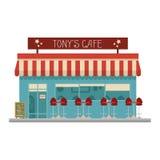 Gullig tecknad filmvektorillustration av ett kafé Royaltyfri Foto